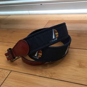 Accessories - Navy Blue Sailboat Belt - 34""